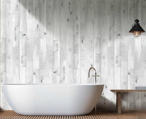 Grey Light Oak Shower Panel Display Room