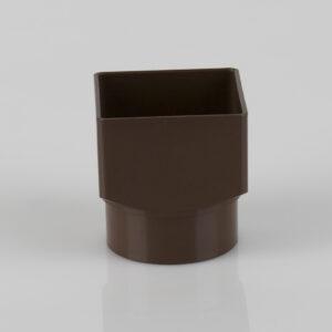 Square Downpipe Square to Round Adaptor Brown
