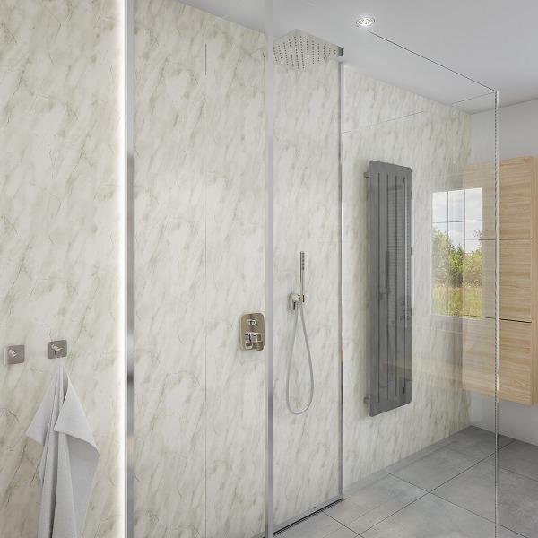Subtle Grey Marble Shower Panel Display Room