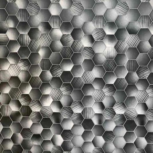 Honeycomb Hex Grey (Matt) Shower Panel