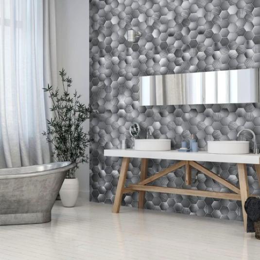 Honeycomb Hex Grey (Matt) Shower Panel Display Room