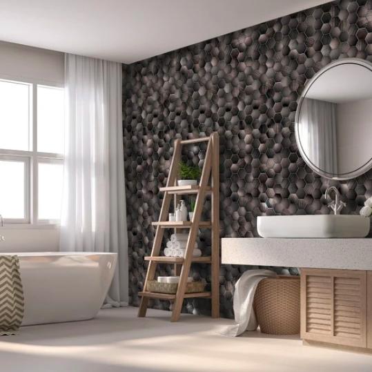 Honeycomb Hex Bronze (Matt) Shower Panel Display Room