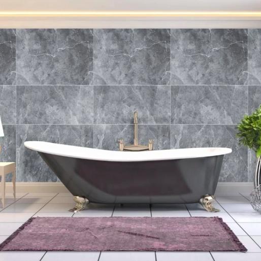 Honeycomb Tile Grey (Matt) Shower Panel Display Room