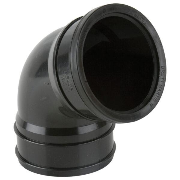 112.5° Industrial Single Socket Top Offset Black