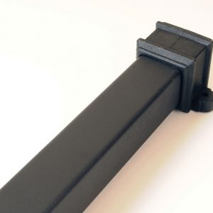 65mm Square Socketed Pipe With Lugs Cast Iron Effect Black