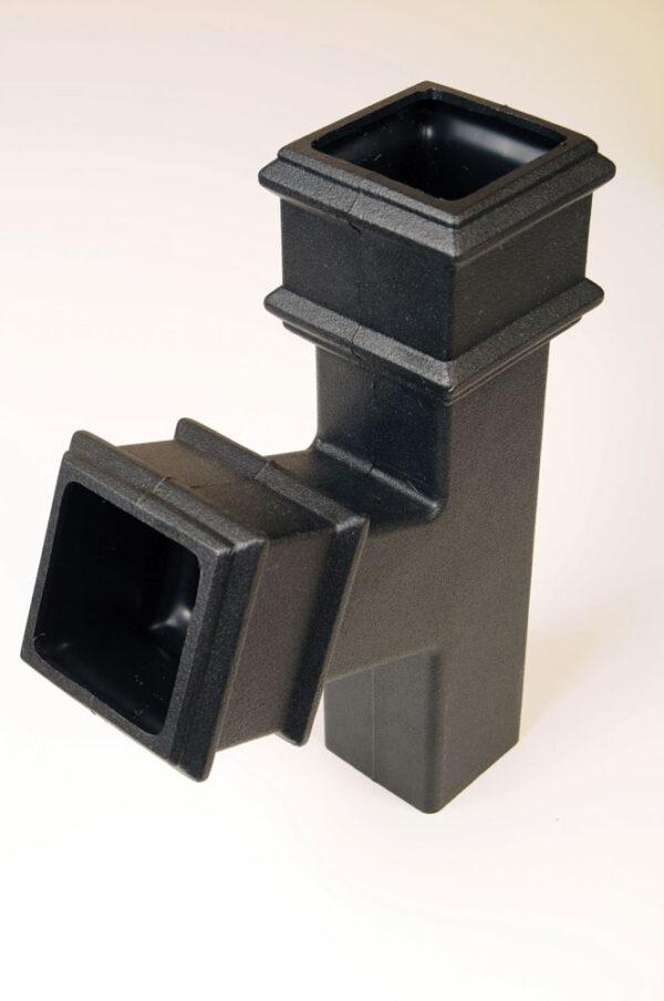 112.5° Square Branch Cast Iron Effect Black