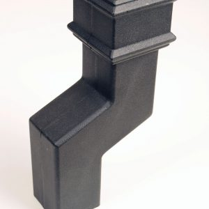 75mm Square Offset Cast Iron Effect Black