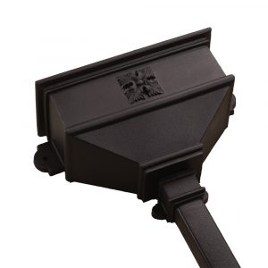 Long Hopper With Four Leaf Square Cast Iron Style Black