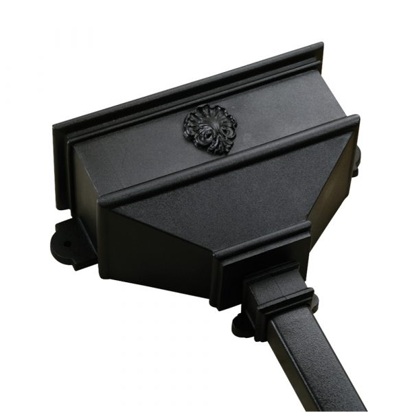 Long Hopper With Shell Cast Iron Style Black