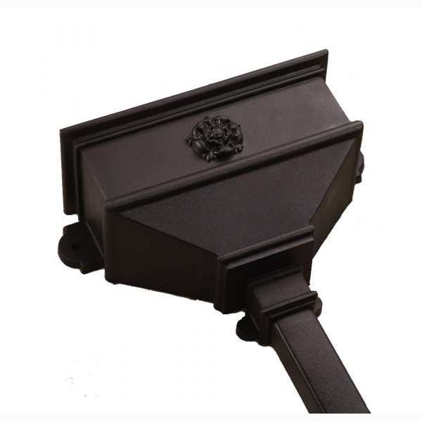 Long Hopper With Tudor Rose Cast Iron Style Black